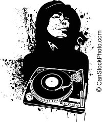 One Color Modern DJ Graffiti Style Vector Illustration