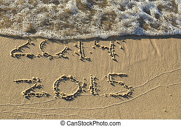 New Year 2015 on the beach - New year for 2015 written in...