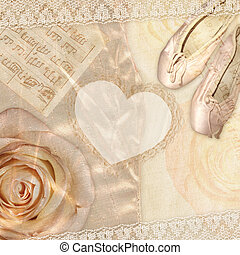 Rose with ballet slippers and notes - Beautiful background...