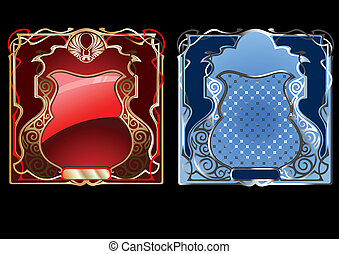Blue And Red Gold Ornate Banner. Vector Illustration.