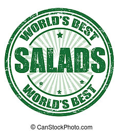 Salads stamp - Grunge rubber stamp with the word Salads...