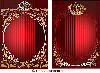 Red And Gold Royal Ornate Banner. Vector Illustration.