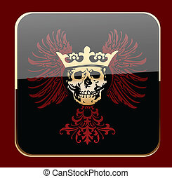 Glow Black Crowned Skull on Red Wings Vector Illustration
