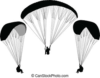 paragliding - vector - illustration of paragliding - vector