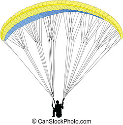paragliding 2 - vector - illustration of paragliding 2 -...
