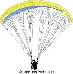 paragliding 2 - vector - illustration of paragliding 2 -...