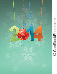 2014 christmas ball - illustration of 2014 text with...