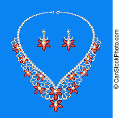 female necklace of precious stones on a blue background -...