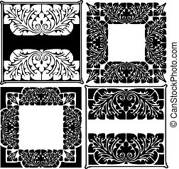 Four Black And White High Ornate Quads.
