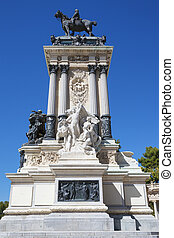 Monument in memory of King Alfonso XII, Retiro Park, Madrid,...