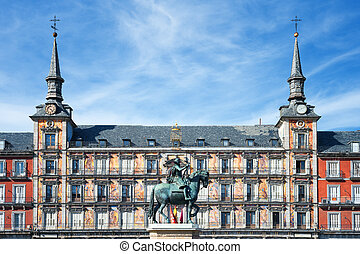 Famous Plaza Mayor in Madrid, Spain