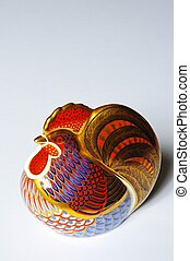 China cockerel paperweight. - Painted china cockerel...
