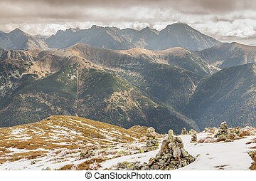 Rocks tower on Malolaczniak top - Tatras Mountains Autumn...