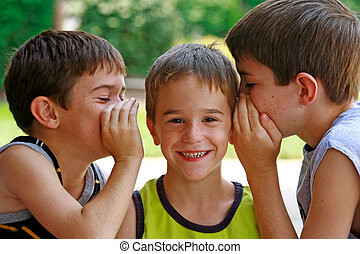 Brothers Telling Screts - Three Brothers Laughing Telling...