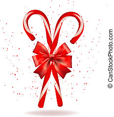 Shiny red Christmas candy cane with bow. Vector illustration.