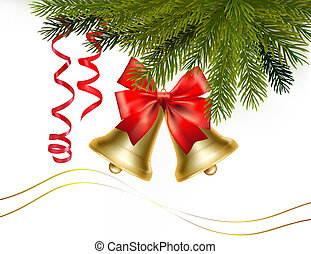 Christmas card with bells and bow Vector illustration