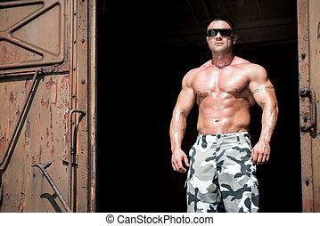 Man Rides A Old Train - Muscular Man Rides A Train