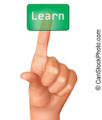 A finger pushing learn button. Vector illustration.