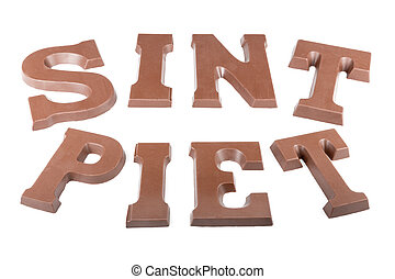 "Chocolate letters making the word 'Sint' and ""Piet' for a..."