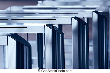 Turnstile gate - Modern metallic turnstile gate, entrance of...
