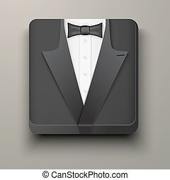 Premium Icon tuxedo and bow-tie. - Icon black tuxedo and bow...