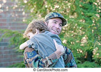 Father and Son - Military Father and Son Hugging