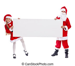Santa and helper showing blank sign