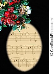 Silent night carol in oval frame. - Silent night carol in...