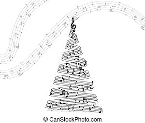note staff - Musical note staff on christmas fir. Vector...
