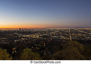 City of Los Angeles Night - Hollywood Hills view of the City...