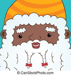 African american Santa Claus with ribbon