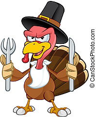 Turkey Mascot - Knife and Fork - A cartoon Illustration of a...