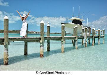 Beach scene Exuma, Bahamas