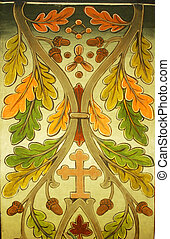 Floral background with religious motifs
