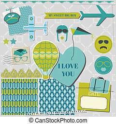 Scrapbook Design Elements - Airplane Party Set - in vector