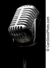 Retro mic in the spotlight - Close up of a retro mic in the...