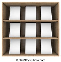 Bookshelf. 3d render isolated on white background