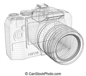 SLR camera Wire frame Isolated render on a white background...