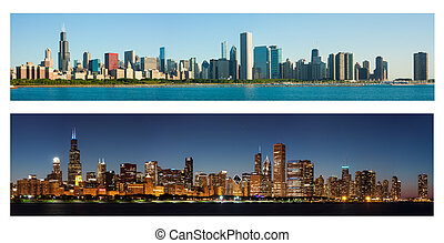 Chicago Skyline at Day and Night