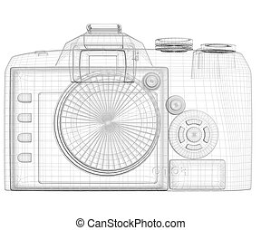 SLR camera. Wire frame. Isolated render on a white...