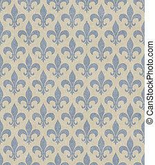 Blue and Beige Fleur De Lis Textured Fabric Background that...