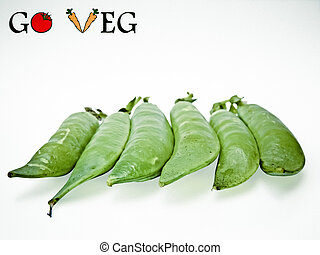 Pods of Sugar Snap Peas, Go Veg, Concept