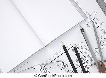 Book, glasses, ruler, compass and pencil