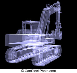 Excavator. X-ray. 3d render isolated on a black background