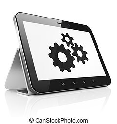 Information concept: Gears on tablet pc computer