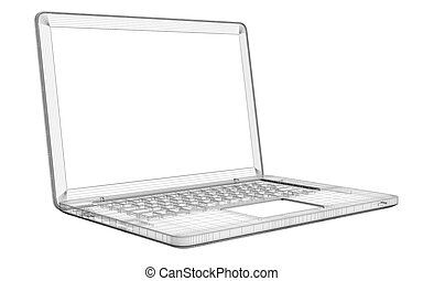 Laptop. Wire frame. Isolated render on a white background
