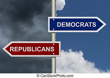 Republicans versus Democrats - Red and blue street signs...