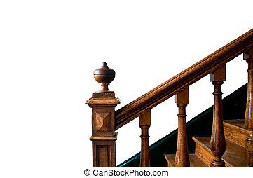 Old staircase with handrail - Old wooden staircase with...