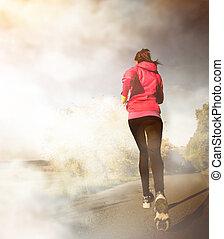 Young woman running - Beautiful Young woman running outdoors