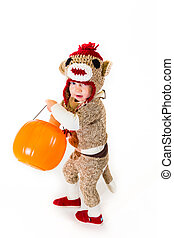Sock Monkey Halloween Costume - A two year old dressed up in...